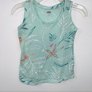 Girls Old Navy Mint Green Floral Print Tank Top 5T